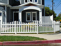 white vinyl scalloped picket fence panel
