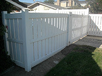 white vinyl semi-privacy fence panel