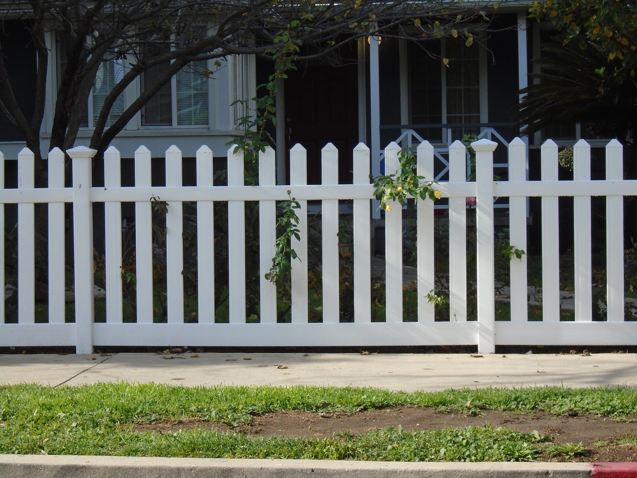 Routed picket fence panel vinyl craft vinyl craft white straight picket fencing with square new england post caps baanklon Images
