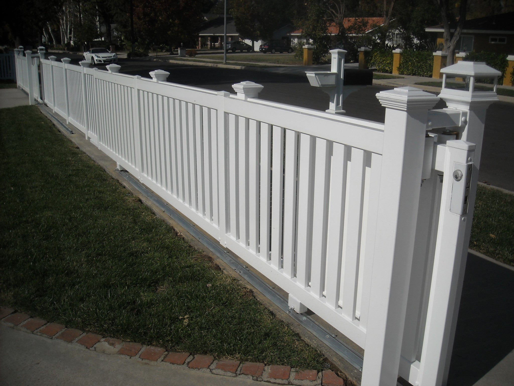 Closed picket fence panel vinyl craft vinyl craft white closed picket fencing with square new england post caps baanklon Images