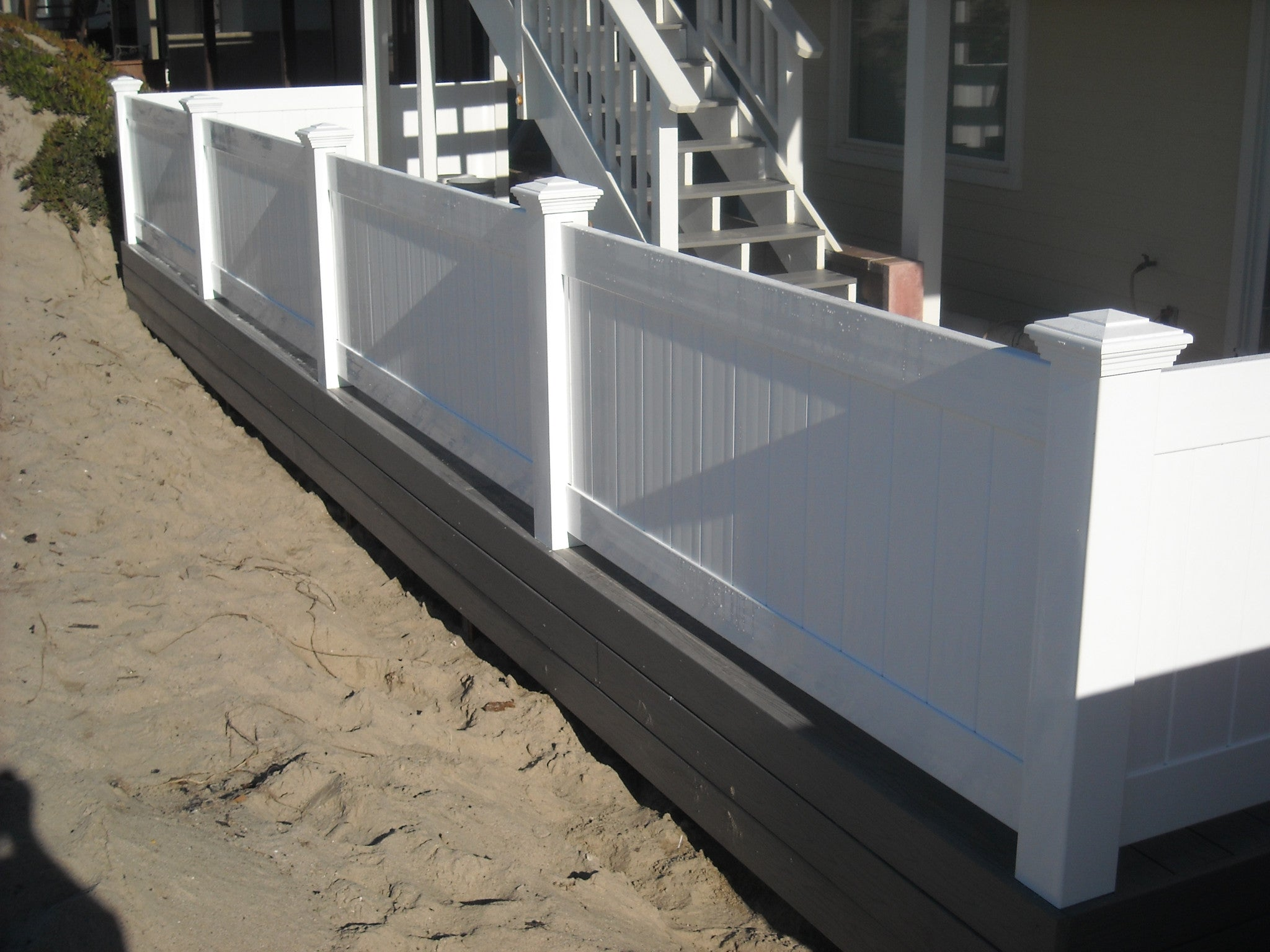 Solid privacy fence panel vinyl craft vinyl craft white solid privacy fencing with square new england post caps baanklon Image collections