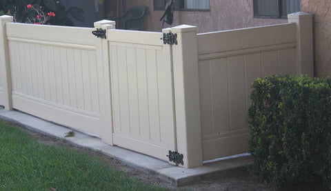 Tan Vinyl Solid Privacy Gate