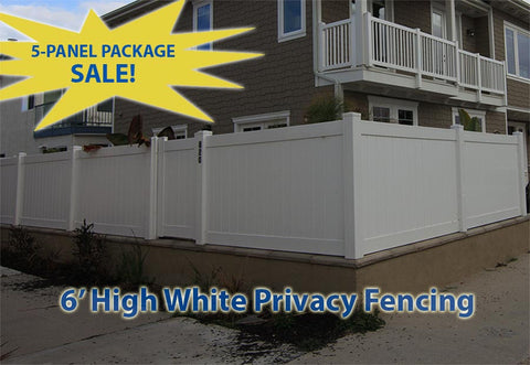 Solid Privacy Vinyl Fencing 5 Panel Package
