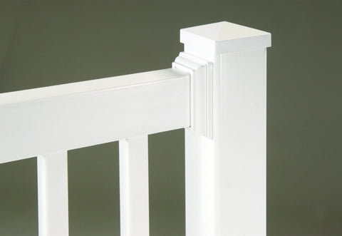 White Vinyl Railing Straight Line Rail Nantucket Series Profile