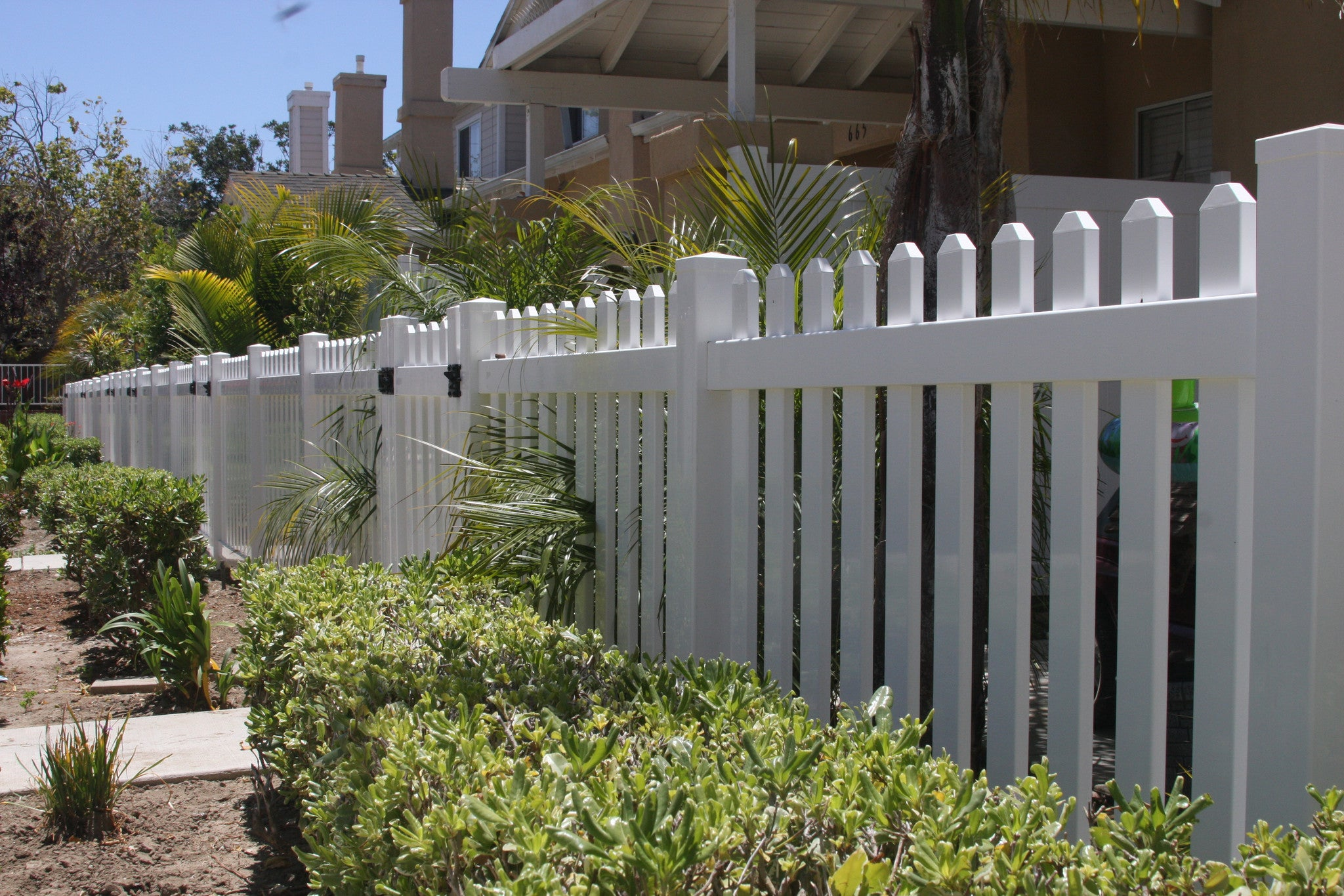 Routed picket fence panel vinyl craft vinyl craft white straight picket fencing with square external pyramid post caps and gate baanklon Images