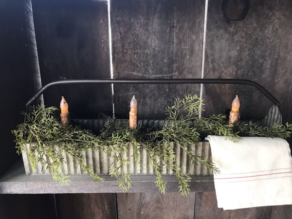 Corrugated Tin Tray With Greens and Candles