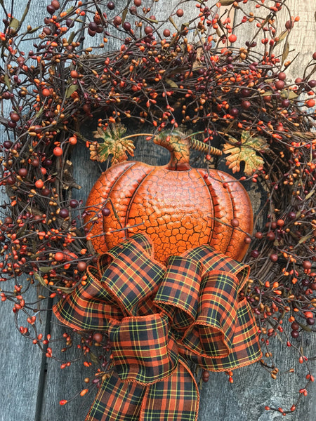 Country Harvest Pumpkin Wreath 24""