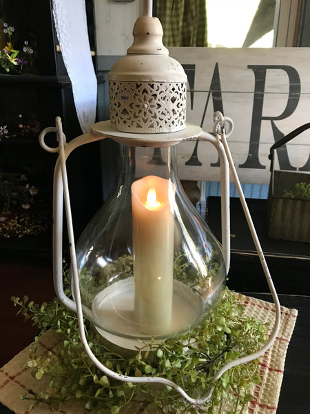 Farmhouse Lantern with Greens and Farm Cloth