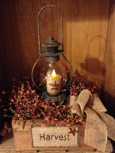 Primitive Harvest Box Lantern Arrangement