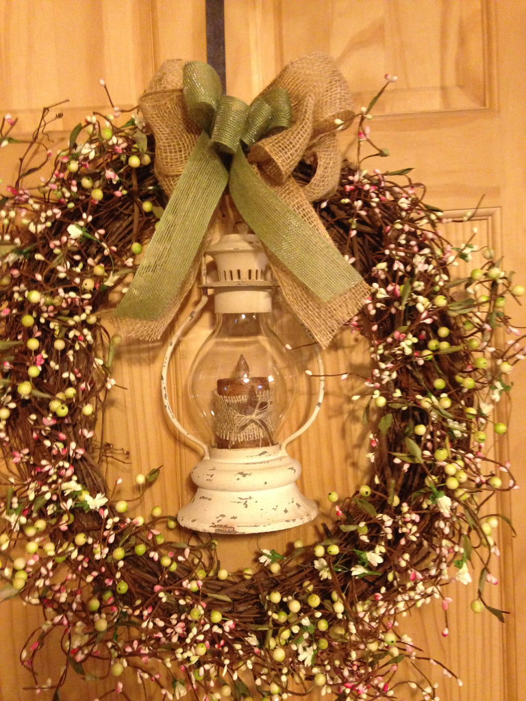 French Country Lantern Wreath with Pastel Pip Berries
