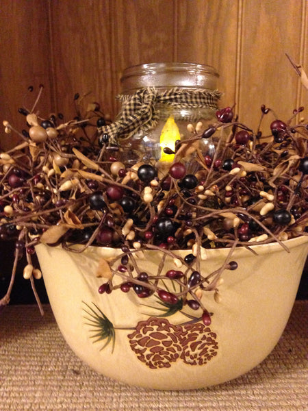 Primitive Pine Cone Bowl Arrangement