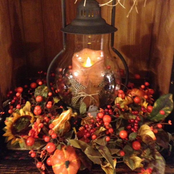 Steeple Lantern with Fall Arrangement