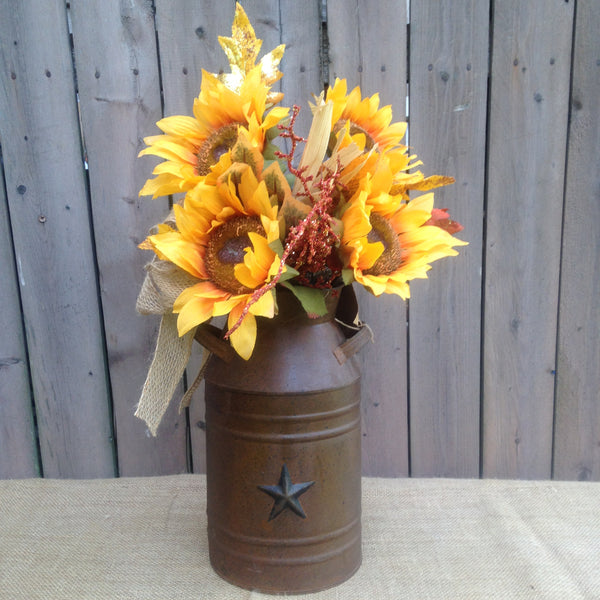 Small Sunflower Milk Can