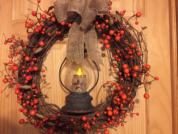 Rustic Lantern Wreath