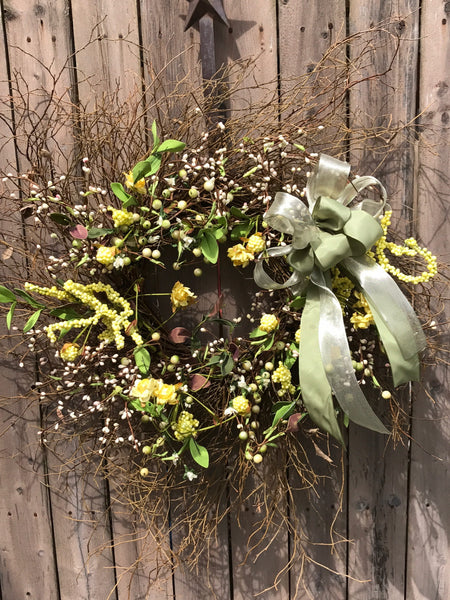 Buttercup Yellow and Cream Wreath