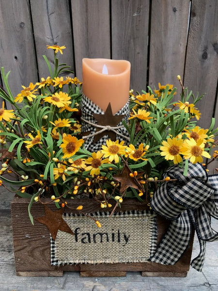 "Reclaimed Wood ""Family"" Box with Mountain Daisy Arrangement"