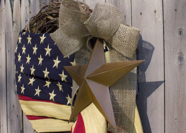 "24"" Tea-Stained American Flag Wreath with Burlap Bow"