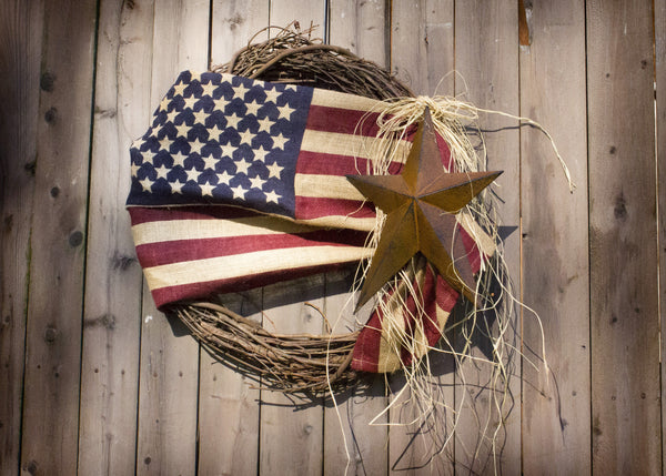 18'' Tea-Stained Burlap American Flag Wreath