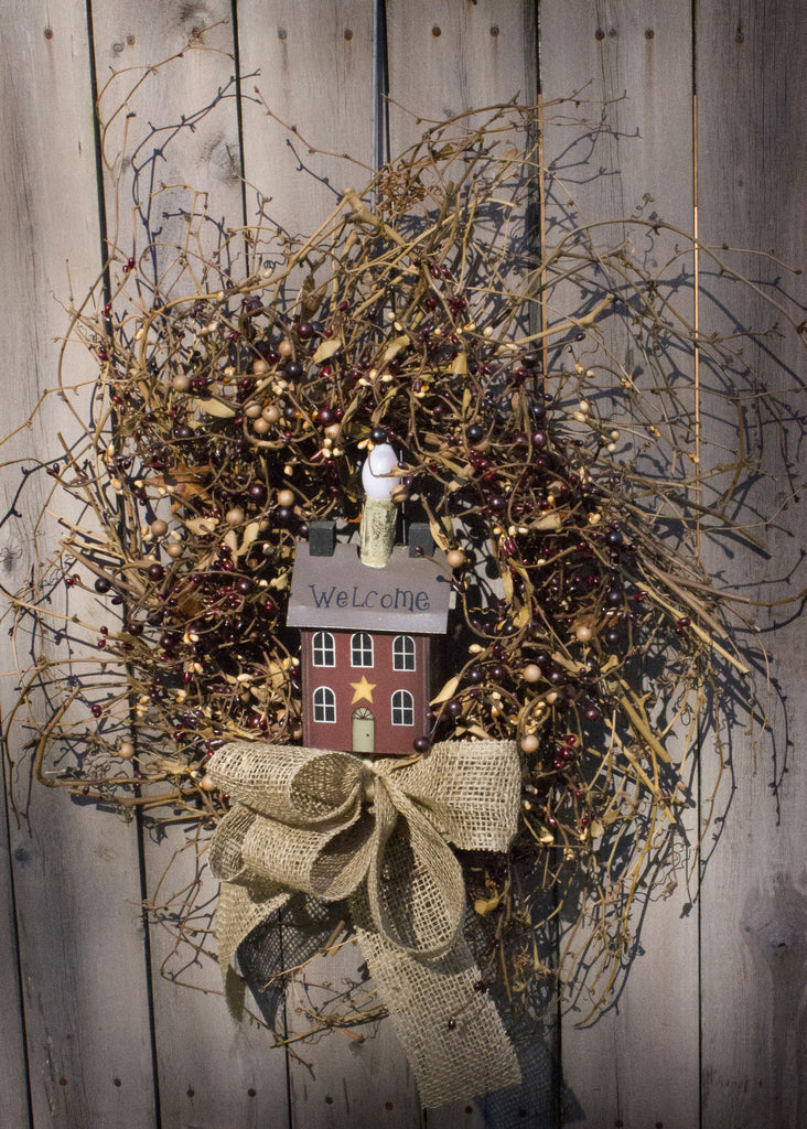 Welcome LED Saltbox House Wreath