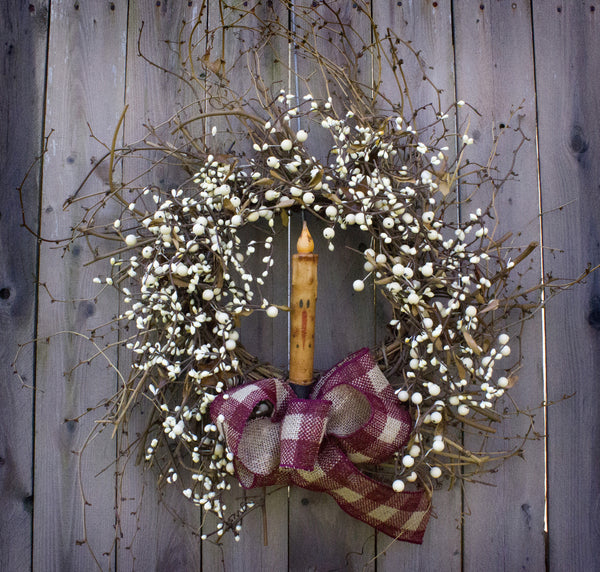Cream Pip Berry Snowman Wreath