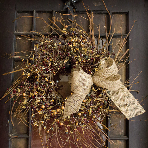Burgundy, Carmel, and Green Pip Berry Wreath