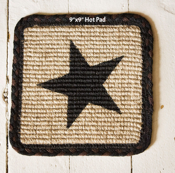 Black Star Wicker Weave Earth Rug Collection