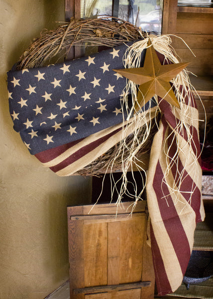 24'' Tea-Stained Burlap American Flag Wreath