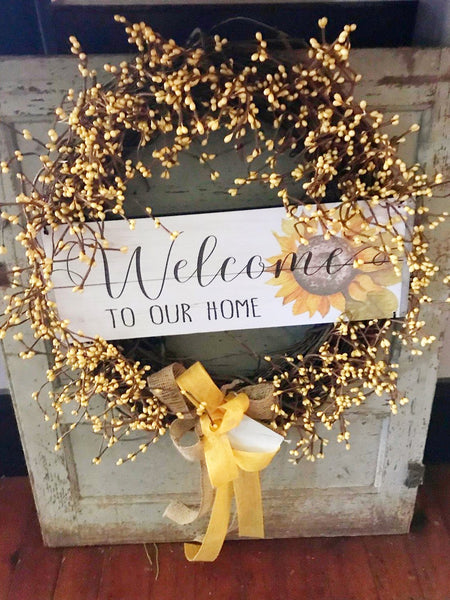 Welcome to Our Home Sunshine Yellow Wreath with Wooden Sign