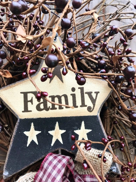 Burgundy Pip Berry Family Star Wreath