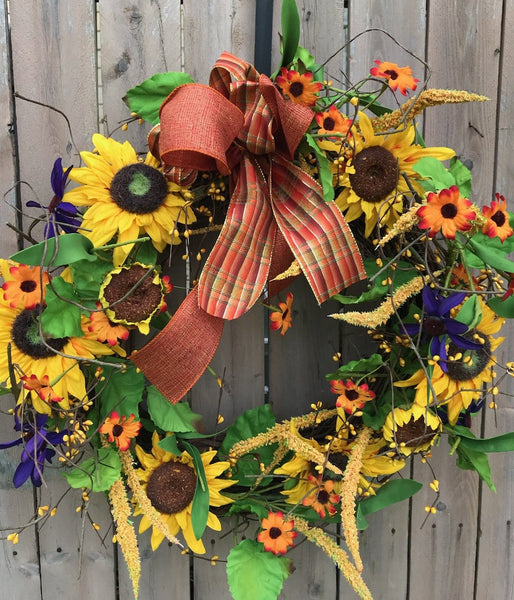"August Wreath of the Month:   22"" Sunflower Fall Wreath"