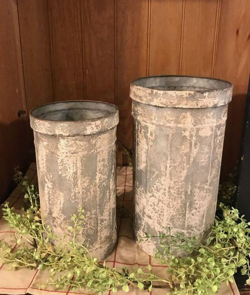 Set of 2 Galvanized White Wash Cans