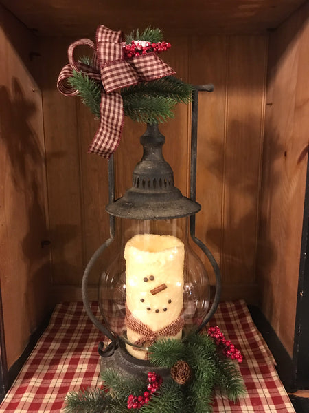 "21""12"" Lantern with Snowman Candle"