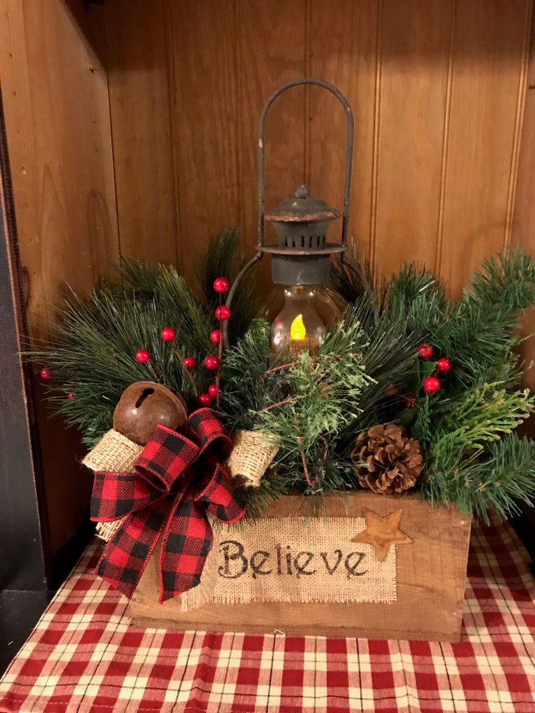 Believe Box Lantern Arrangement