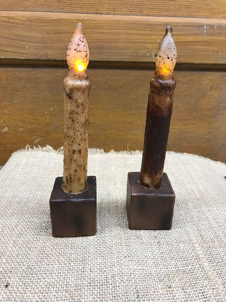 Wooden Block Candle Holder with Candle