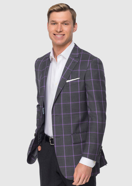 Charcoal Gray & Lavender Windowpane