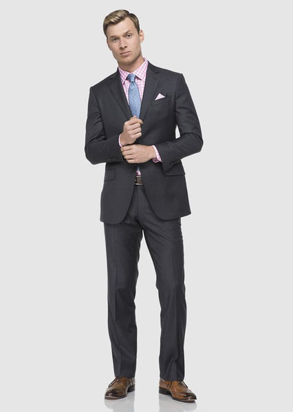Dark Charcoal Gray Sharkskin Suit
