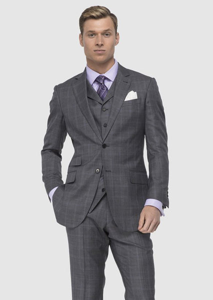 Gray/Purple Box Sharkskin Suit