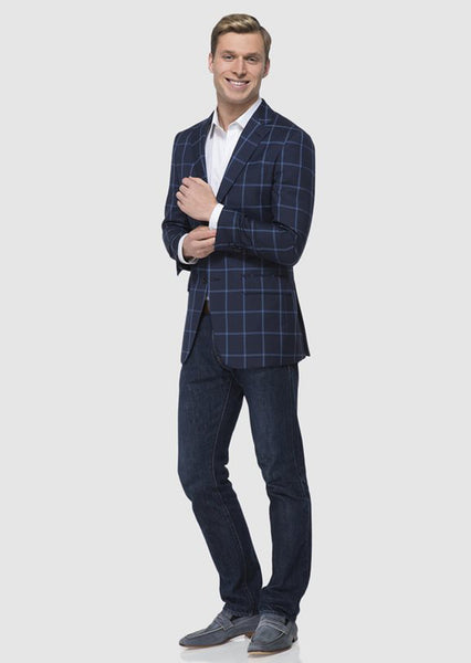 Navy & Cobalt Windowpane