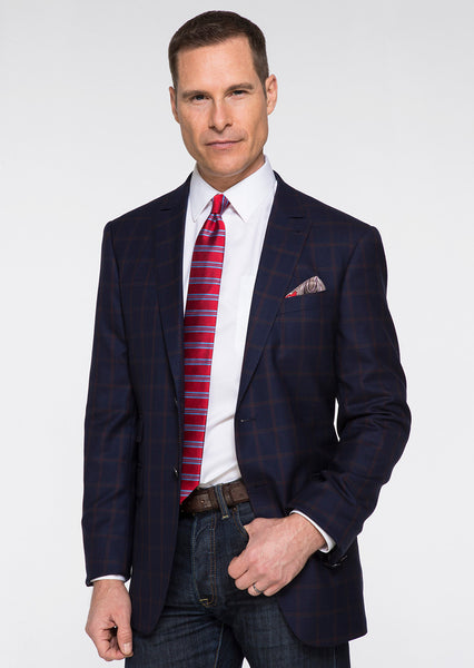 Navy & Red Windowpane