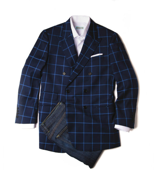 Navy & Cobalt Double-Breasted Blazer