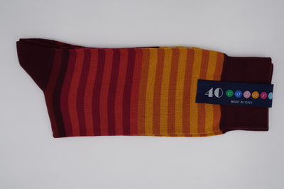 Bild von Socken 'Stripes from Orange to Red' von '40 Colori' aus 80% Baumwolle, 12% Nylon, 8% Elastan