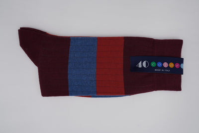 Bild von Socken 'Two Stripes on Dark Red' von '40 Colori' aus 80% Baumwolle, 12% Nylon, 8% Elastan