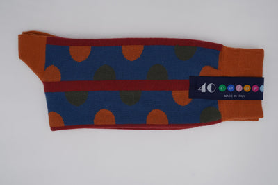 Bild von Socken 'Discontinued Dots on Orange' von '40 Colori' aus 80% Baumwolle, 12% Nylon, 8% Elastan