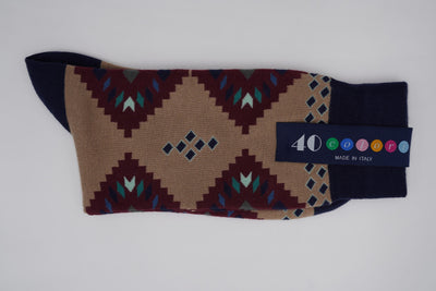Bild von Socken 'Native Patterns on Sand' von '40 Colori' aus 80% Baumwolle, 12% Nylon, 8% Elastan