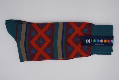 Bild von Socken 'Graphics and Stripes on Petrol' von '40 Colori' aus 80% Baumwolle, 12% Nylon, 8% Elastan