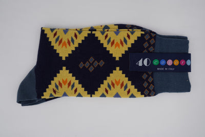 Bild von Socken 'Native Patterns on Dark Blue' von '40 Colori' aus 80% Baumwolle, 12% Nylon, 8% Elastan