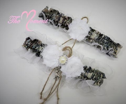 Brown Camo Garters with White and Twine