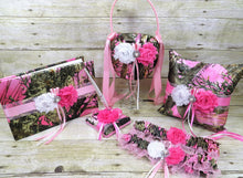 Load image into Gallery viewer, True Timber Pink Camo Wedding Set with White and Pink Shabby Chic Flowers