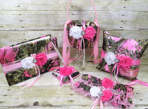 True Timber Pink Camo Wedding Set with White and Pink Shabby Chic Flowers