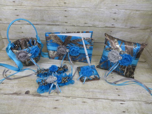 True Timber Blue Camo Wedding Set with Gray and Turquoise Shabby Chic Flowers